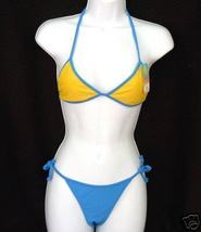 new OS L Cocot Tri Tie RIO BIKINI Swimsuit Blue Yellow One Size LG - $14.00