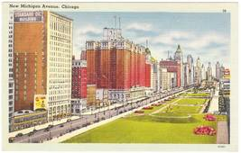 Vintage 1944 Linen Postcard New Michigan Ave Chicago IL - $4.95