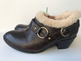 born shoes Womens Shearling  Lined Leather Bootie H70516 Brown - $23.44
