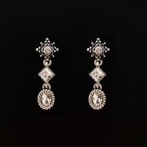 3 Tiered Oval Rhombus Dangle Earrings Made With Swarovski Stone 925 Silver Ear image 2