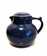 Cupper Coffee Carafe Christian Ridge Pottery Dark Blue Pot w/ Lid Pitche... - $43.55