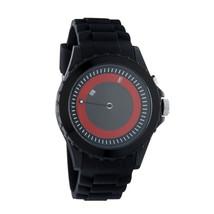 Flud Unisex THN005 Espalda Iluminado Analogico Movimiento Reloj Negro Goma Rojo