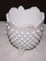 "Vintage hobnail milk glass dish  5"" high. Sits on  3 feet.  Resembles Fenton - $6.92"