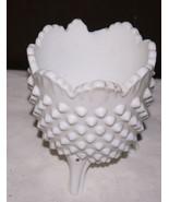 "Vintage hobnail milk glass dish  5"" high. Sits on  3 feet.  Resembles Fe... - $6.92"