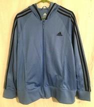 ADIDAS Men's Windbreaker Size 1X Blue 3 Stripe Full Zip Hoodie Jacket - $28.87