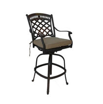 8 piece patio cast aluminum party bar and swivel bistro set with Sunbrella seats image 3
