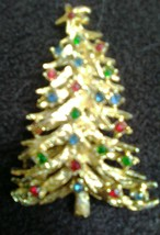 Christmas tree Gold Tone With Blue, Green,& Red Crystals Pin - $1.25