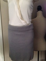 $595 DONNA KARAN collection label stretchy GRAY cashmere skirt M - $267.02