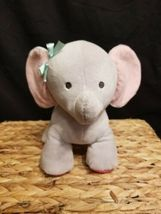 Carters Child Of Mine Gray Elephant Plush Musical Pink Ears & Feet & Head Moves - $10.71