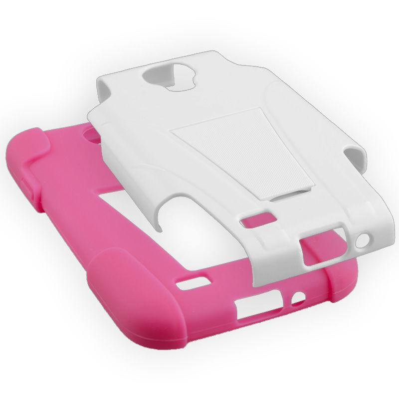 Hypergear Terminator Case w/ Kickstand for Samsung Galaxy S4, White / Pink