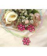 Handcrafted Pink Flower Necklace and Earrings Paper Quill New - $24.99