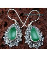 925 Silver & Green Jade Earrings ER-457-DG - $20.21