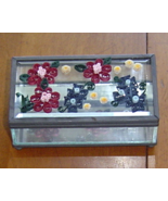 Jewelry Box- Handcrafted Flowers, Glass and Paper Quill - $39.95