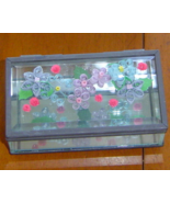 Handcrafted Jewelry box-  Pale Flowers, Paper Quill and Glass New - $39.95