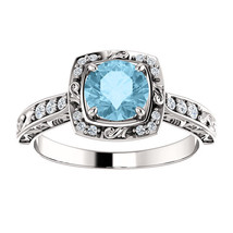 Antique Filigree Halo Diamond & Aquamarine 14K White Gold Engagement Ring  - £613.20 GBP