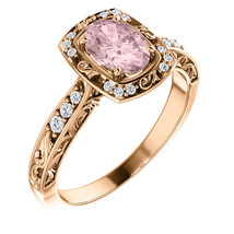 Diamond Halo Engagement Ring 14K Rose Gold Morganite Oval Cushion Art Ca... - £840.36 GBP