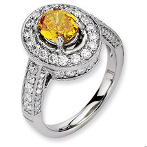 2.70+ Carat Antique Vintage Style Unique Oval Diamond and Yellow Sapphir... - £1,527.24 GBP