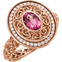 Diamond and Pink Turmaline Halo Vintage Carved Antique Rose Gold Engagem... - £996.93 GBP