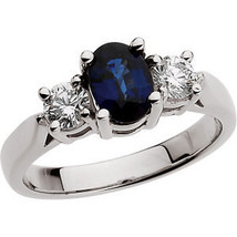 14K White Gold, Diamond & Blue Sapphire Three Stone Oval Engagement Ring - £1,227.16 GBP