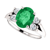 2cts 14K White Gold Diamond & Emerald Round Oval Split Band Engagement Ring - £1,070.60 GBP