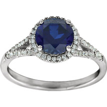 1.5 carat Diamond & Blue Sapphire Halo Vintage Round Split Band Engageme... - £613.20 GBP