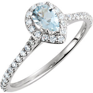 14K White Gold Pear Diamond and Blue Aquamarine Halo Ring Engagement Ring