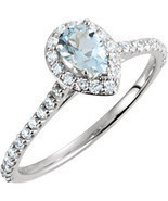 14K White Gold Pear Diamond and Blue Aquamarine Halo Ring Engagement Ring - £665.88 GBP