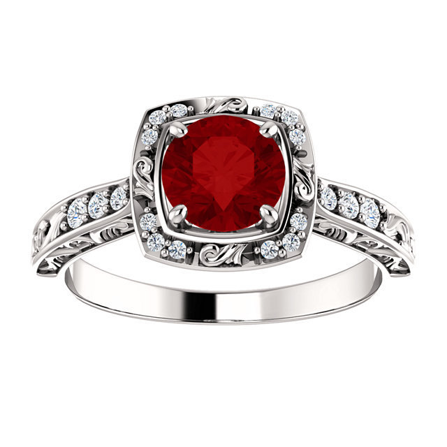 Antique Halo Diamond & Ruby 14K White, Rose or Yellow Gold Engagement Ring
