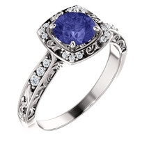 Antique Filigree Halo Diamond Tanzanite 14K White or Yellow Gold Engagem... - £958.55 GBP