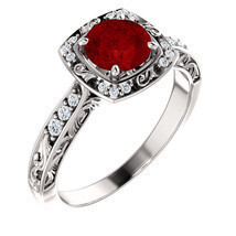 Antique Halo Diamond & Ruby 14K White, Rose or Yellow Gold Engagement Ring  - £828.97 GBP