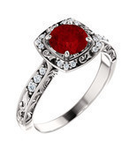 Antique Halo Diamond & Ruby 14K White, Rose or Yellow Gold Engagement Ring  - €927,66 EUR