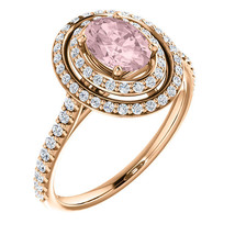 Oval Morganite Diamond Double Halo Diamond 14K Rose Pink Gold Engagement... - £894.09 GBP