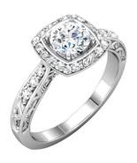 Filigree Halo Diamond Engagement Ring 14K Rose Yellow or White Gold Vintage - £626.16 GBP