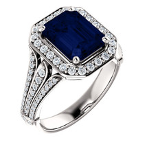 Chatham Sapphire 9x7 Emerald Diamond Engagement Ring 14K Rose White Yell... - £996.93 GBP