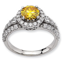 2+ Carat Antique Vintage Style Unique Round Diamond and Yellow Sapphire ... - £1,457.40 GBP