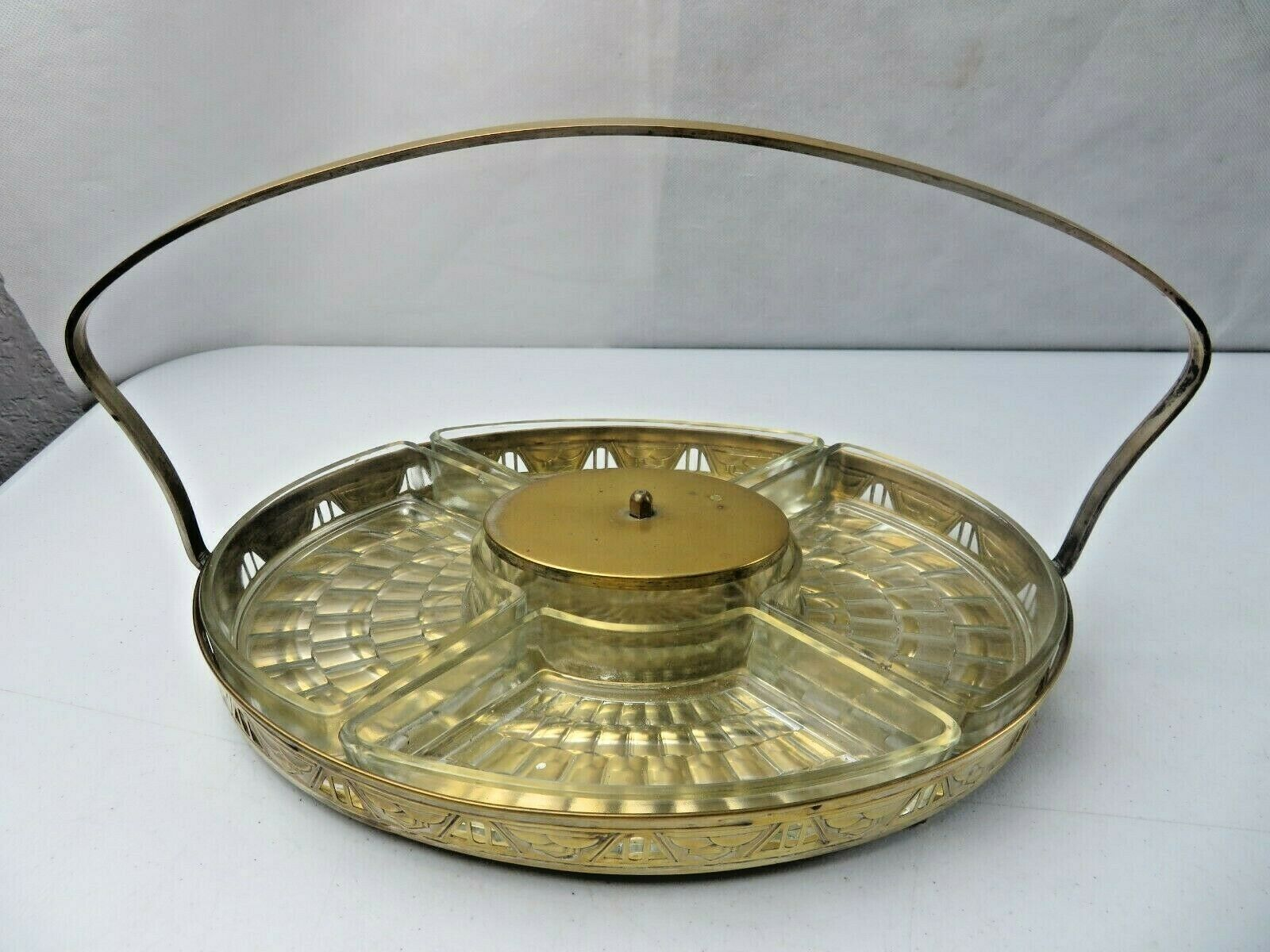 Primary image for MCM Art Deco Elegant French Glass Brass Basket Compartiment Serving tray