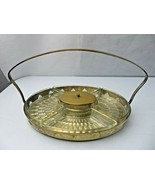MCM Art Deco Elegant French Glass Brass Basket Compartiment Serving tray - $120.00