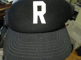 VTG Baseball Cap R script mesh back black color made in usa trucker hat - $29.65
