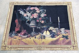Riddle Home & Gift Floral Grapes Violin Still Life Wall Tapestry 40 x 51 - $38.59