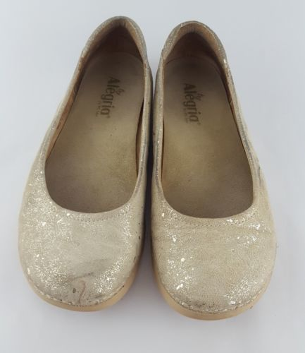 Alegria PET-584 Petal Gold Flake Leather Ballet Flats 8
