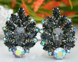 Vintage Black Gray Marquis Rhinestones Clip Earrings Aurora Borealis - $24.95