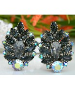 Vintage Black Marquis Rhinestone Earrings Aurora Borealis - $24.95