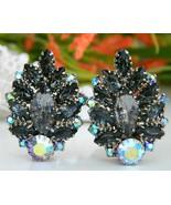 Vintage Black Gray Marquis Rhinestones Clip Earrings Aurora Borealis - $24.95