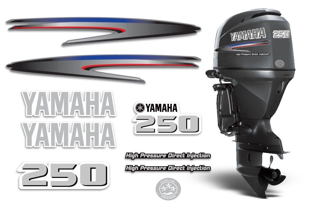 Yamaha 250 hp hpdi decal kit outboard engine stickers for Yamaha 250 boat motor