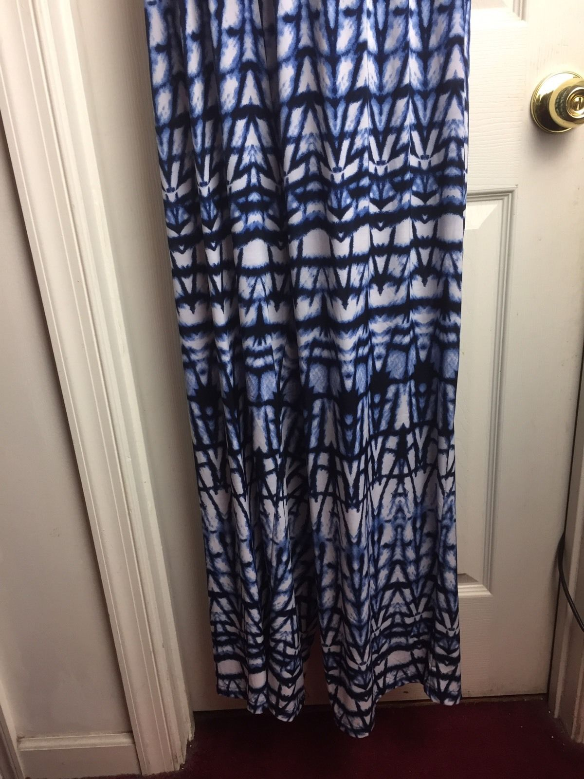 MLLE Gabrielle Strapless Printed Navy Jumpsuit Plus Size 3X
