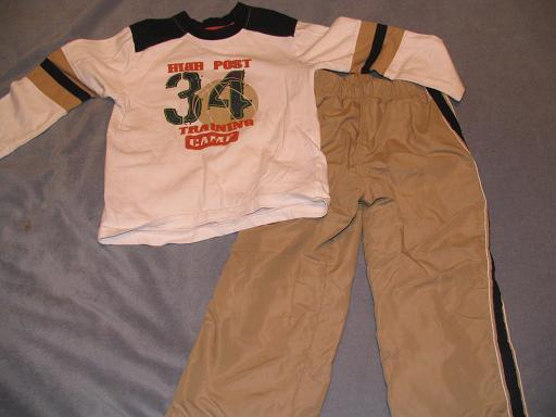 4T Okie Dokie Khaki and Navy with basektball toddler outfit
