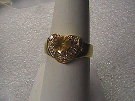 14k Gold over Sterling Silver 1.0 Cts Natural Citrine & White Topaz Hear... - $30.00