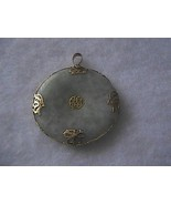 Vintage 14k 585 Solid Yellow Gold Apple Green Medallion Pendant 11.2 grams - $200.00
