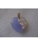 14k  Solid Yellow Gold Lavender Jade & Mother of Pearl Heart  Pendant 3.... - $75.00