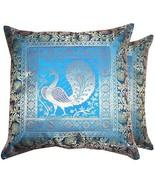 """Blue 17"""" Peacock Cushion Pillow Cover Silk Brocade Sofa Throw Decor (Set... - $12.86"""